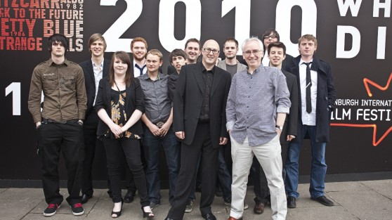 Lecturers-Fergus-Robb-Graham-Drysdale-with-students-at-Film-House